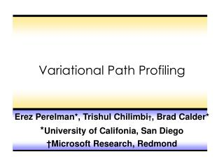 Variational Path Profiling