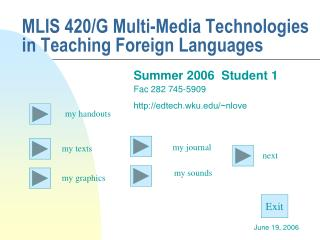 MLIS 420/G Multi-Media Technologies in Teaching Foreign Languages