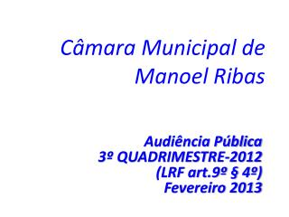 Câmara Municipal de Manoel Ribas