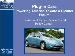Plug-In Cars Powering America Toward a Cleaner Future