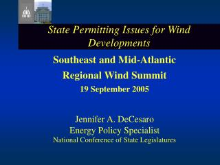 State Permitting Issues for Wind Developments