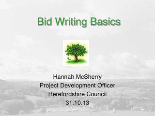 Bid Writing Basics