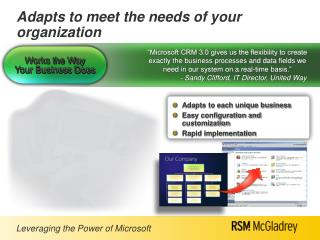 Adapts to meet the needs of your organization