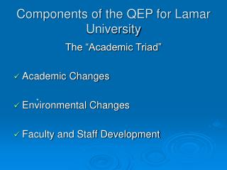 Components of the QEP for Lamar University