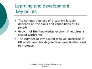 Learning and development:  key points