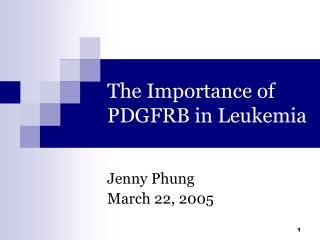 The Importance of PDGFRB in Leukemia