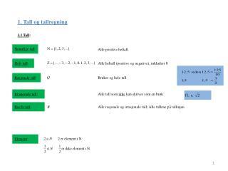 1. Tall og tallregning
