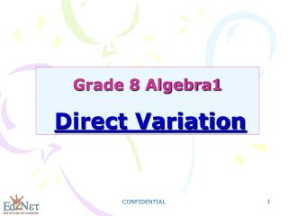 Grade 8 Algebra1 Direct Variation
