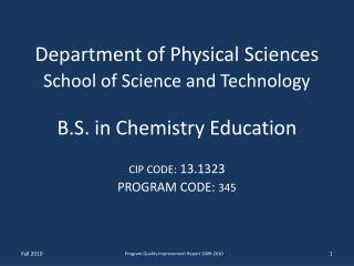 Department of Physical Sciences School of Science and Technology