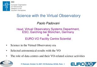 Science in the Virtual Observatory era Selected astronomical results with the VO