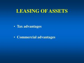 LEASING OF ASSETS