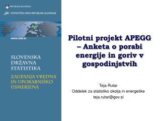 Pilotni projekt APEGG – Anketa o porabi energije in goriv v gospodinjstvih