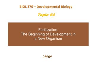 Fertilization:   The Beginning of Development in  a New Organism