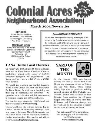 March 2005 Newsletter