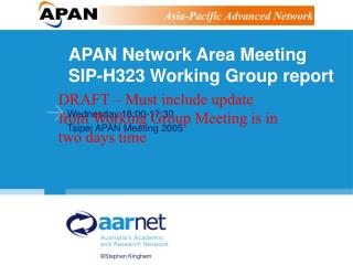 APAN Network Area Meeting SIP-H323 Working Group report