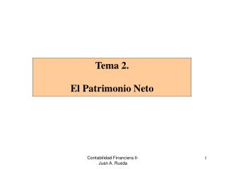 Tema 2.  El Patrimonio Neto