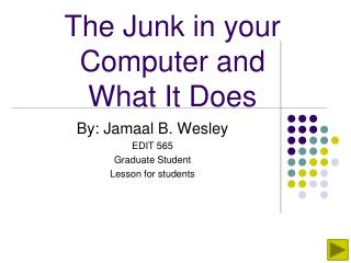 The Junk in your Computer and  What It Does