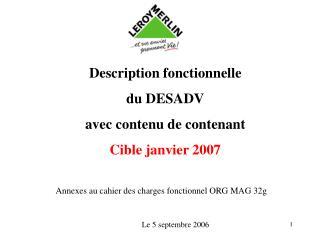 Description fonctionnelle  du DESADV avec contenu de contenant Cible janvier 2007