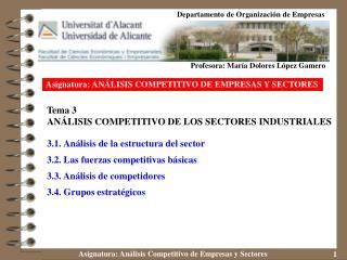 Asignatura: ANÁLISIS COMPETITIVO DE EMPRESAS Y SECTORES