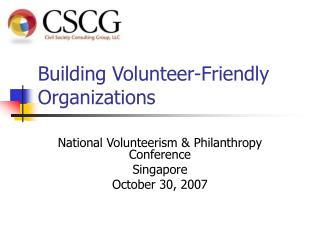 Building Volunteer-Friendly Organizations