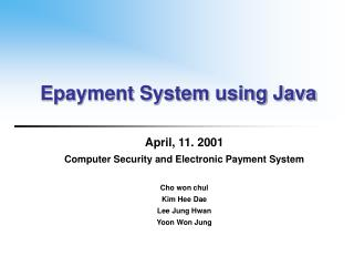 Epayment System using Java