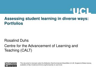 Assessing student learning in diverse ways: Portfolios