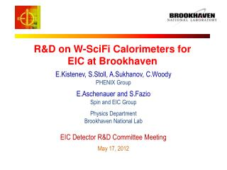 R&D on W-SciFi Calorimeters for EIC at Brookhaven