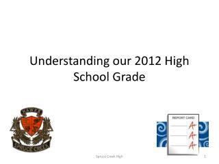 Understanding our 2012 High School Grade
