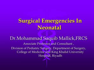 Surgical Emergencies In Neonatal