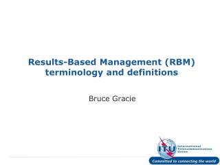 Results-Based Management (RBM) terminology and definitions