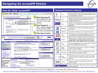 Navigating the  access HR Website