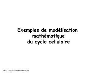 Exemples de modélisation  mathématique du cycle cellulaire