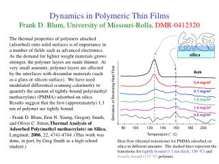 Dynamics in Polymeric Thin Films Frank D. Blum, University of Missouri-Rolla,  DMR-0412320