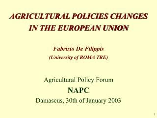 AGRICULTURAL POLICIES CHANGES IN THE EUROPEAN UNION Fabrizio De Filippis  (University of ROMA TRE)