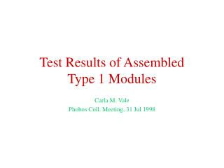 Test Results of Assembled Type 1 Modules