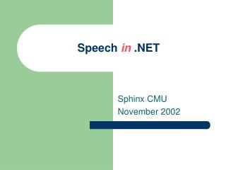 Speech  in  .NET