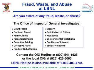 Fraud, Waste, and Abuse at LBNL