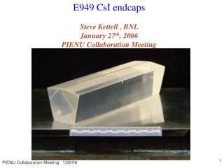 E949 CsI endcaps Steve Kettell , BNL     January 27 th , 2006 PIENU Collaboration Meeting
