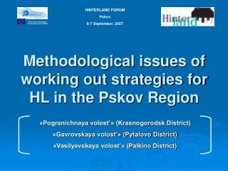 Methodological issues of working out strategies for HL in the Pskov Region