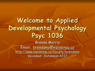 Welcome to Applied Developmental Psychology Psyc 1036