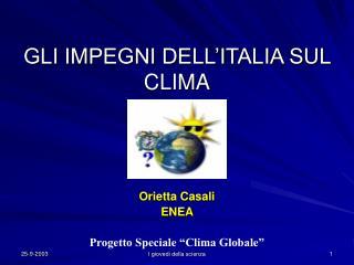 GLI IMPEGNI DELL'ITALIA SUL CLIMA