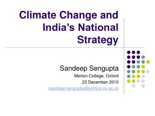 Climate Change and India's National Strategy