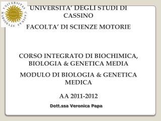 UNIVERSITA�  DEGLI  STUDI  DI  CASSINO FACOLTA�  DI  SCIENZE MOTORIE