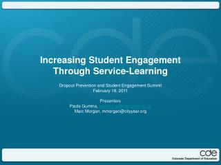 Increasing Student Engagement Through Service-Learning