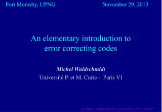 An elementary introduction to  error correcting codes