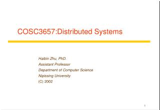 COSC3657:Distributed Systems