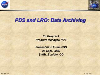 PDS and LRO: Data Archiving