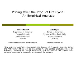 Pricing Over the Product Life Cycle:  An Empirical Analysis