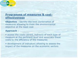 Programme of measures & cost-effectiveness
