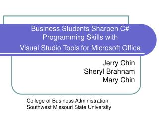 Business Students Sharpen C# Programming Skills with  Visual Studio Tools for Microsoft Office